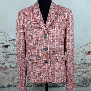 Carlisle 12 Pink Beige Silk Wool Tweed Blazer